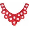 Motif Sequin/beads 27x11.5cm U Shape with crystal stones Red